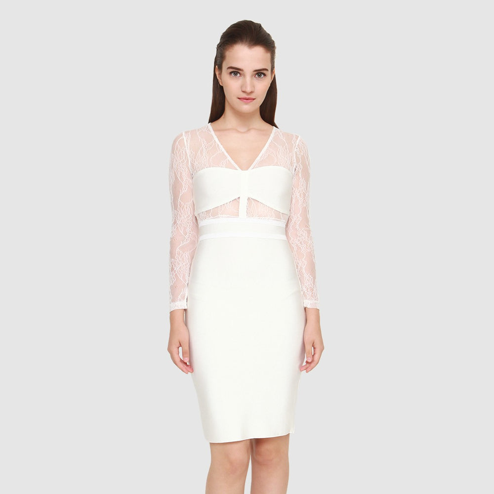 SHOPIA WHITE LACEY LONGSLEEVES DRESS