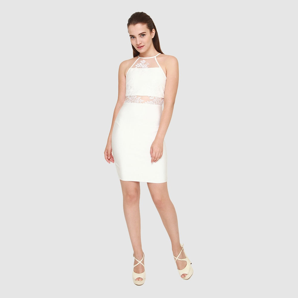MICHELLE WHITE LACE MINI DRESS