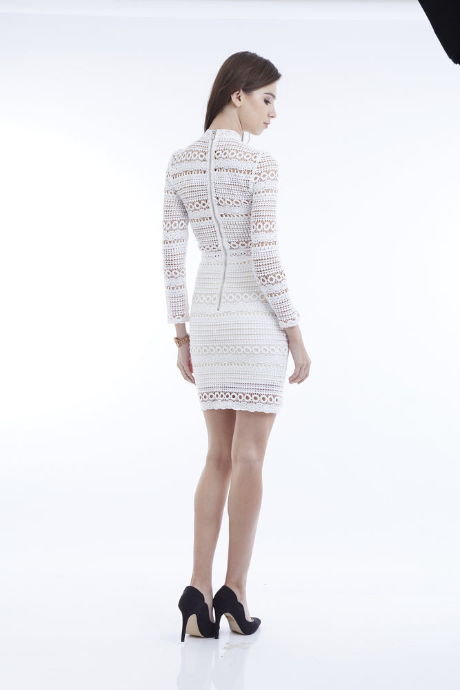 ALICE BROCADE LONGSLEEVES MINI DRESS