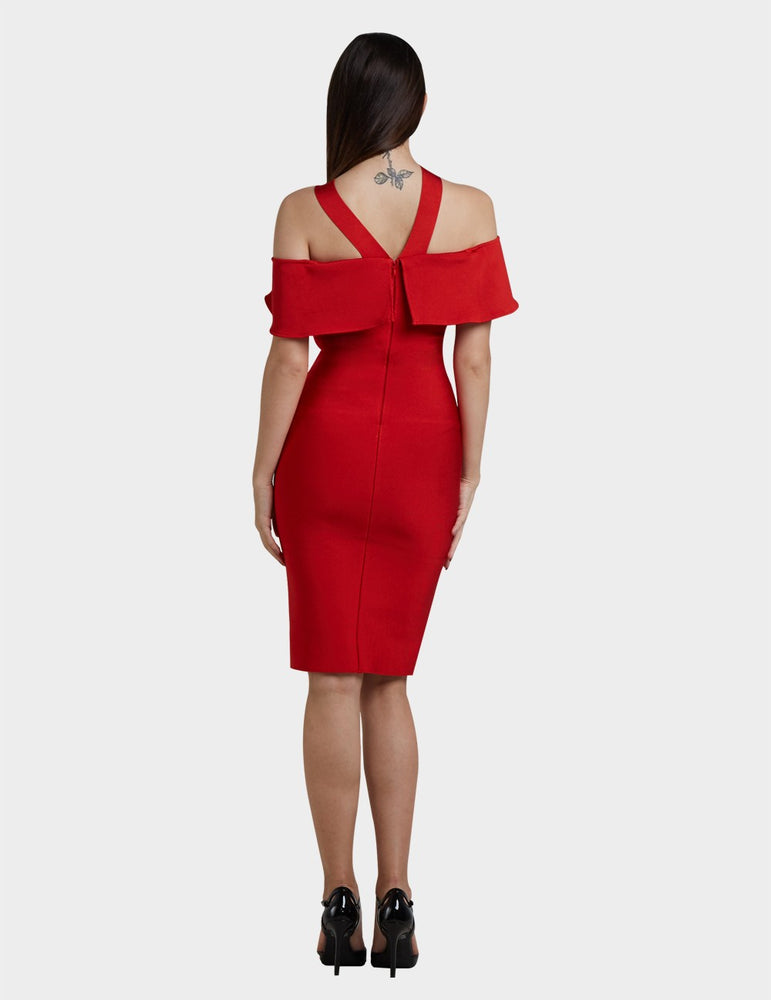 Load image into Gallery viewer, GERALDINE SABRINA PEPLUM BANDAGE DRESS