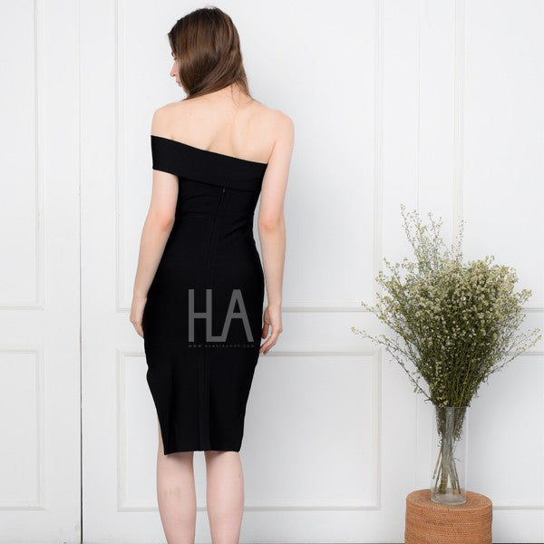 PAULINE BLACK TUBE BANDAGE DRESS
