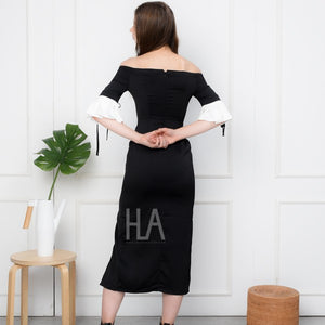 MOMO 3F BLACK SABRINA LONG DRESS