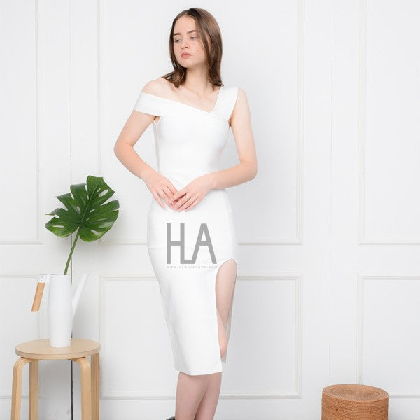 Load image into Gallery viewer, THERESIA WHITE MAXI BANDAGE DRESS