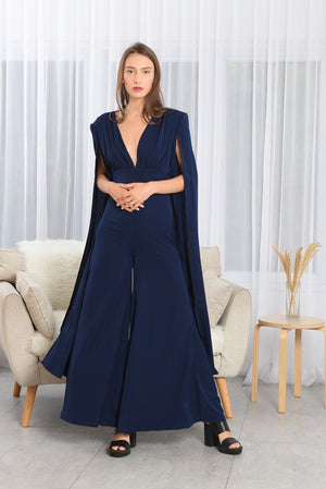 Load image into Gallery viewer, HARPER BLUE V-NECK LONG SLEEVES JUMPSUIT