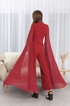 ROYAL RED LONG SLEEVES JUMPSUIT
