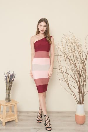ARIEL ONE SHOULDER OMBRE MIDI BANDAGE DRESS