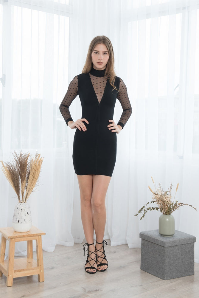 Load image into Gallery viewer, DEEPIKA BLACK TRANSPARENT LOVE MINI BANDAGE DRESS