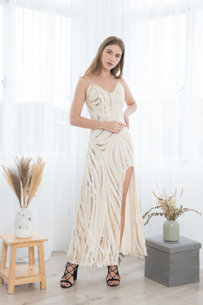 LADY GOLD SEQUINED SEXY LONG DRESS