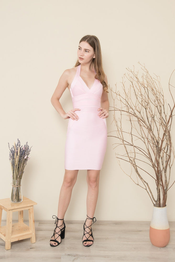 LELLY HALTER MINI BANDAGE DRESS
