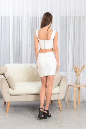 NICKY WHITE MINI BANDAGE TWO PIECE