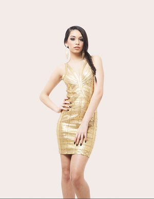 Gladys Foil Print Bandage Dress