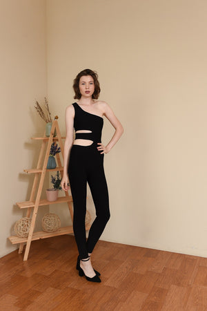 Load image into Gallery viewer, ZELINE BLACK CUTOUT BANDAGE JUMPSUIT