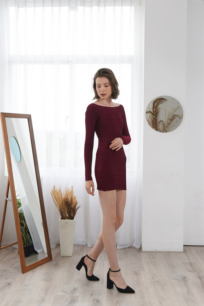 Load image into Gallery viewer, AVRIL BURGUNDY SIGNATURE LONG SLEEVES BANDAGE DRESS