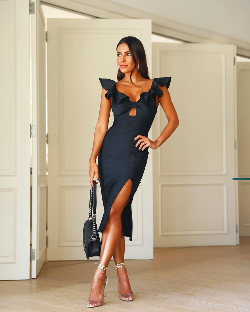 JODIE SHORT BUTTERFLY SLEEVES RAFFLES BANDAGE DRESS