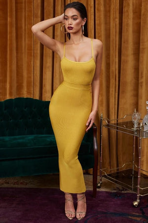 Load image into Gallery viewer, ZOZI YELLOW BODYCON BANDAGE LONG DRESS