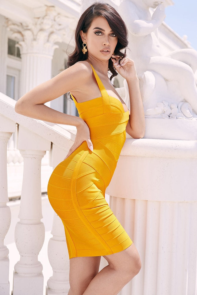ZIVA YELLOW BODYCON MINI BANDAGE DRESS