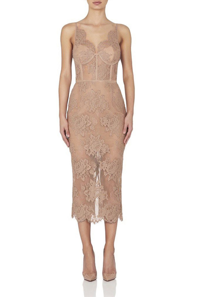 DEMI LACE BROCADE MIDI BANDAGE DRESS