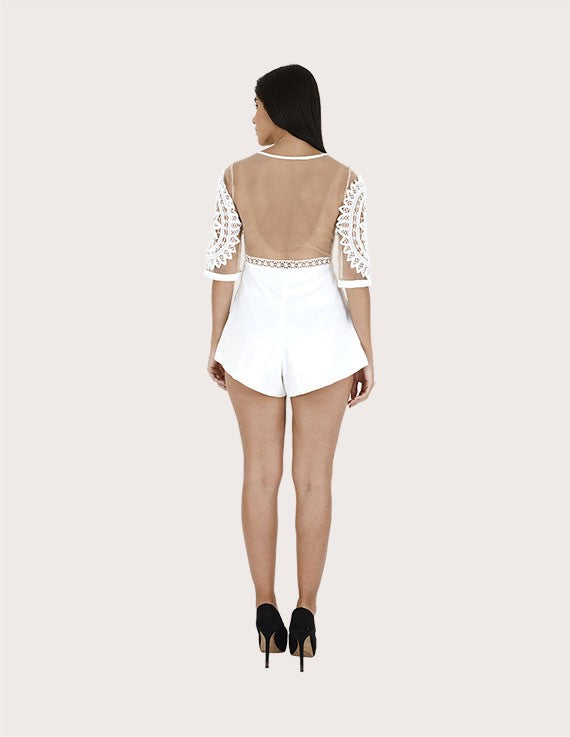 Piper White Lace Sleeves Short Jumpsuit