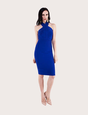 Load image into Gallery viewer, Halter Cross Neck Dress