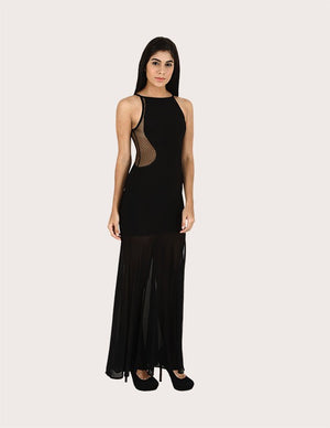 Load image into Gallery viewer, Lily Black Side Sheer Long Dress