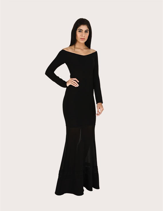 Meghan Black Off Shoulder Mermaid Dress