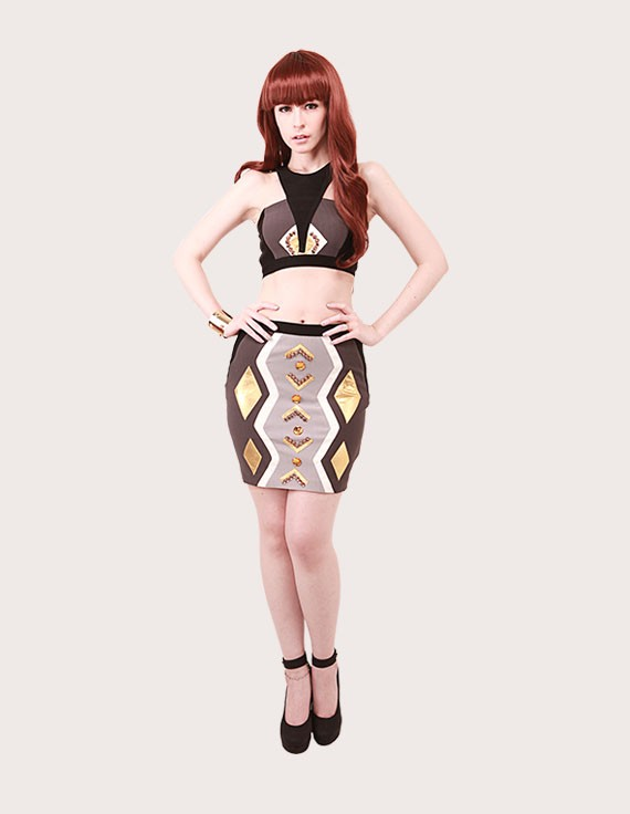 Load image into Gallery viewer, Naomi Tribal Two Piece Bandage- Set