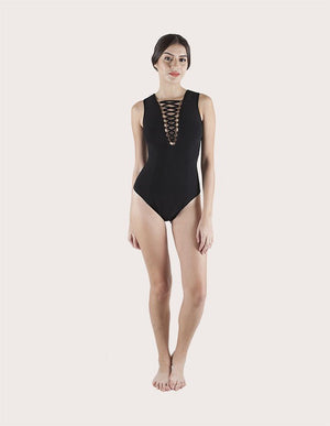 Load image into Gallery viewer, V-Neck Strap Black One Piece Swuimsuit