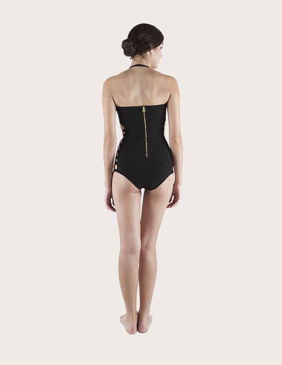 Load image into Gallery viewer, Side Strap Black Monokoni Swimsuit