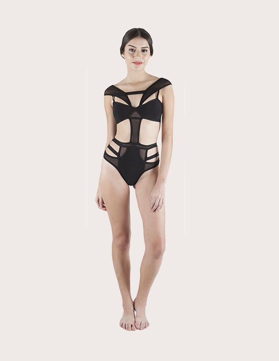 Transparent Mesh Strap Swimsuit