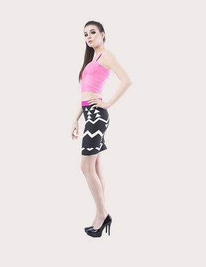 Geometric Patterned Bandage Skirt