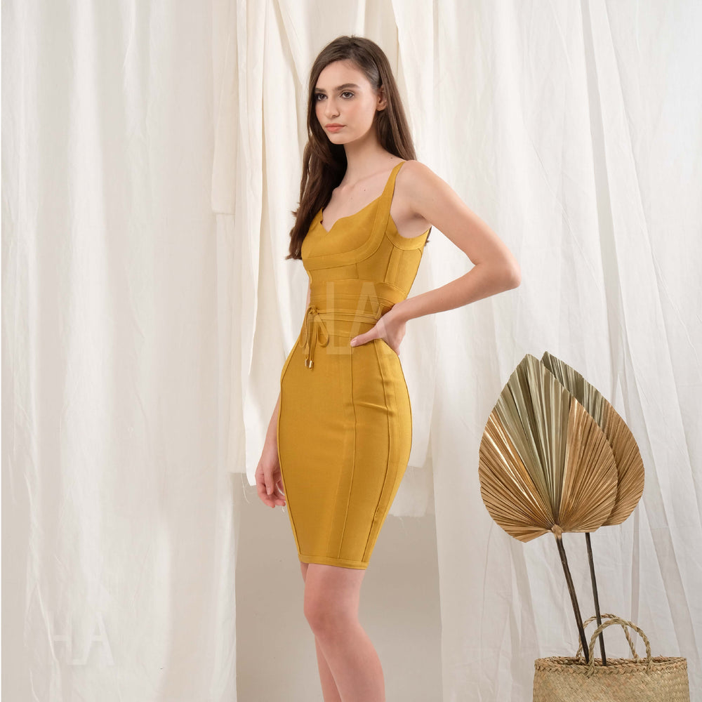 ELEANOR MUSTARD BODYCON BANDAGE DRESS