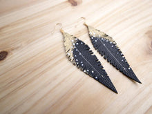 Load image into Gallery viewer, Black Reclaimed Leather Feather Earrings, Gold Tops