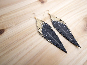 Black Reclaimed Leather Feather Earrings, Gold Tops