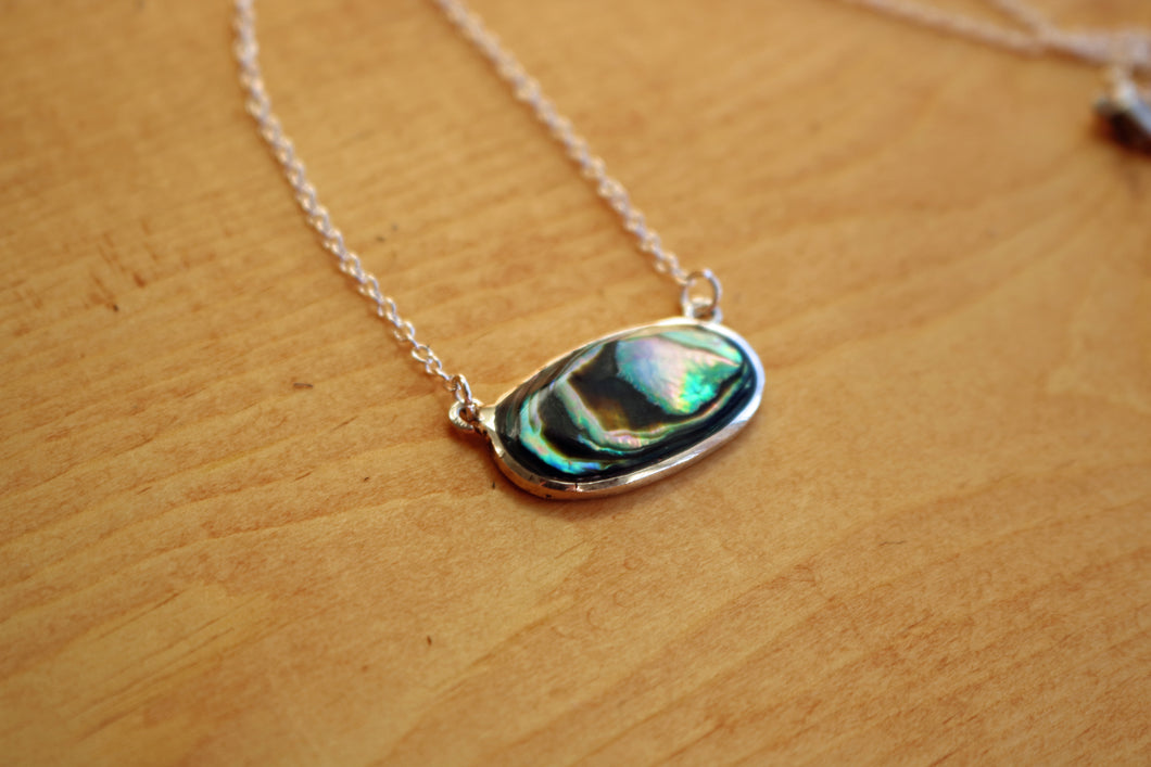 Upcycled Abalone Shell Pendant Necklace
