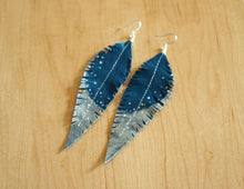 Load image into Gallery viewer, Long Turquoise Reclaimed Leather Feather Earrings, Silver Tips
