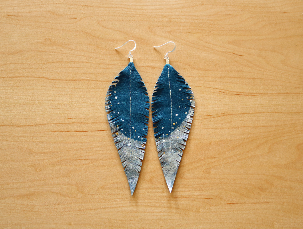 Long Turquoise Reclaimed Leather Feather Earrings, Silver Tips