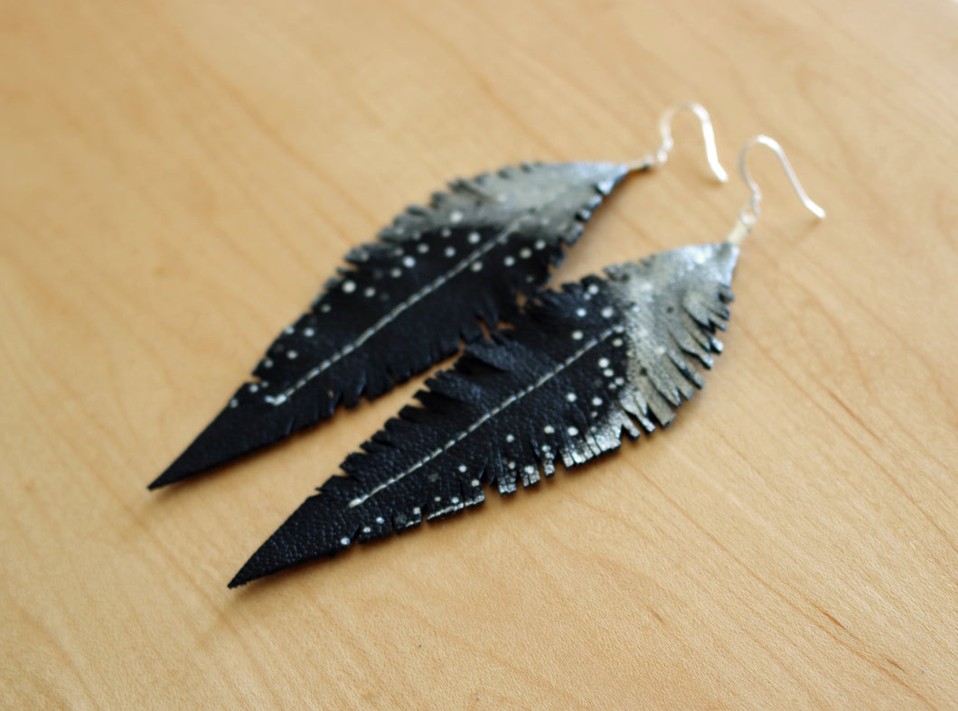 Long Black Reclaimed Leather Feather Earrings, Silver Tops