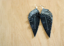 Load image into Gallery viewer, Long Black Reclaimed Leather Feather Earrings, Silver Tops
