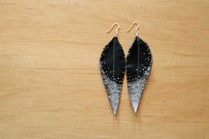 Long Black Reclaimed Leather Feather Earrings, Silver Tips