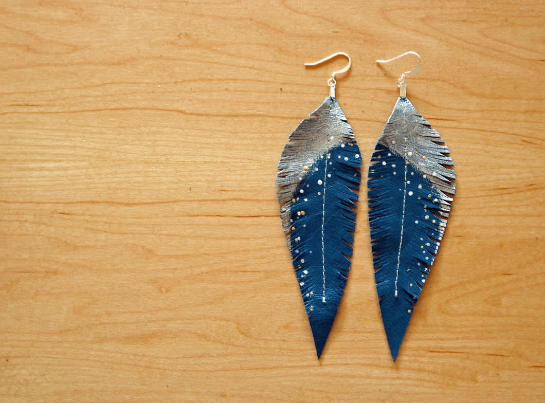 Long Turquoise Reclaimed Leather Feather Earrings, Silver Tops