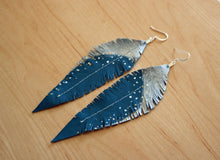 Load image into Gallery viewer, Long Turquoise Reclaimed Leather Feather Earrings, Silver Tops