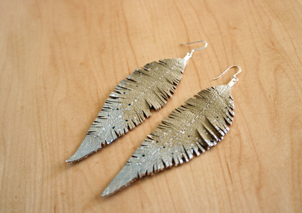Long Cream Reclaimed Leather Feather Earrings, Silver Tips