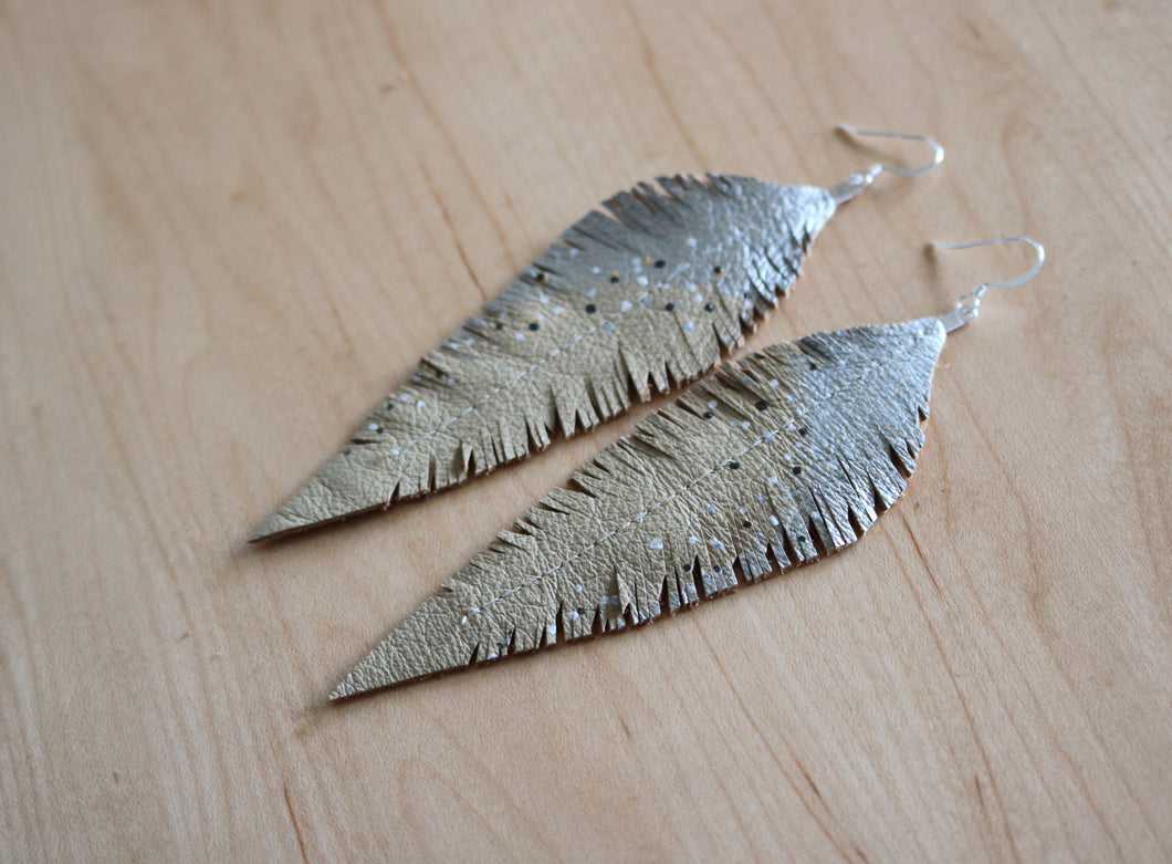 Long Cream Reclaimed Leather Feather Earrings, Silver Tops
