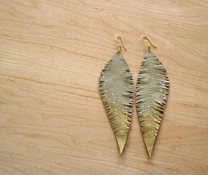 Long Cream Reclaimed Leather Feather Earrings, Gold Tips