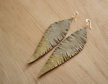 Load image into Gallery viewer, Long Cream Reclaimed Leather Feather Earrings, Gold Tips