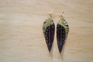 Long Brown Reclaimed Leather Feather Earrings, Gold Tops