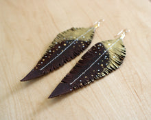 Load image into Gallery viewer, Long Brown Reclaimed Leather Feather Earrings, Gold Tops