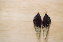 Load image into Gallery viewer, Long Brown Reclaimed Leather Feather Earrings, Gold Tips