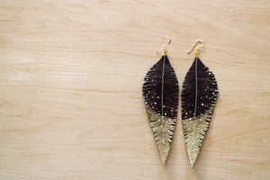 Long Brown Reclaimed Leather Feather Earrings, Gold Tips