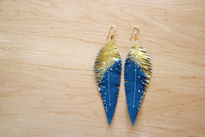 Long Turquoise Reclaimed Leather Feather Earrings, Gold Tops
